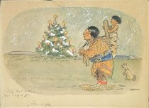 Image of [Indian with papoose standing near Christmas tree] - Hill, Louis